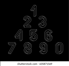 Impossible Geometry numbers. Impossible shape font. Low poly 3d characters. Geometric font. Isometric graphics 3d numbers. White line on a black background. Vector illustration 10 eps.