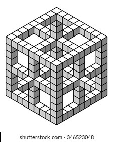 Impossible geometry / object. Optical illusion; isometric object.
