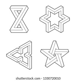 Impossible geometry shape. Optical Illusion. Line design. Impossible geometry symbols vector set. Escher paradox impossible geometry geometric graphic. Original outline vector (non expanded stroke).