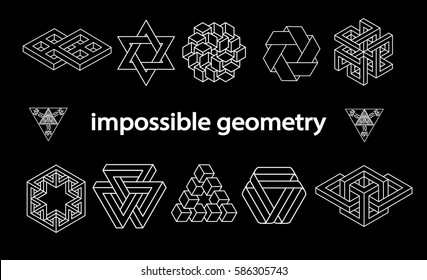 Impossible geometry symbols vector set on black background.