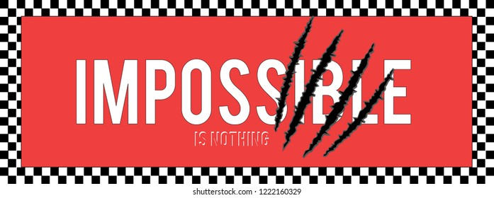 Impossible is Nothing.Paper Cut,t shirt graphic design, vector artistic illustration graphic style, vector, poster, slogan.