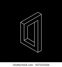 Impossible object. Isolated on black background. Vector outline illustration.