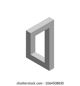 Impossible object. Isolated on white background.3d Vector illustration.