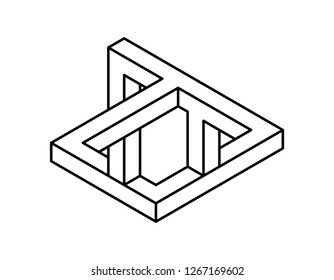 Impossible object. Isolated on white background. Vector outline illustration.