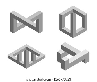 Impossible object set No1. Isolated on white background. 3d Vector illustration.