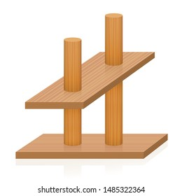 Impossible object. Two sticks pierce two planks, which are oriented differently in the perspective. Paradox, conflicting, incompatible, false wooden figure. Vector on white.