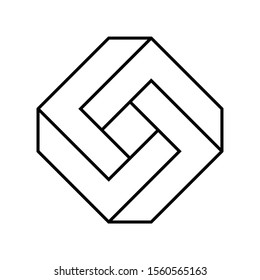 Impossible rectangle shape. Optical illusion. Linear infinite rhombus figure. Abstract eternal geometric object. Impossible endless sign outline. Impossible geometry symbol on white background. Vector