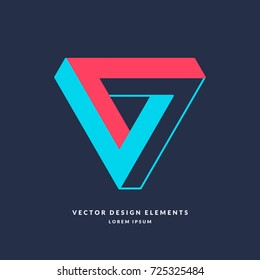 The Impossible Shape. 3D object and type of optical illusion. Vector illustration.