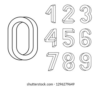 Impossible shape font. Memphis style letters. Colored numbers in the style of the 80s. Set of vector numbers constructed on the basis of the isometric view. Vector illustration 10 eps