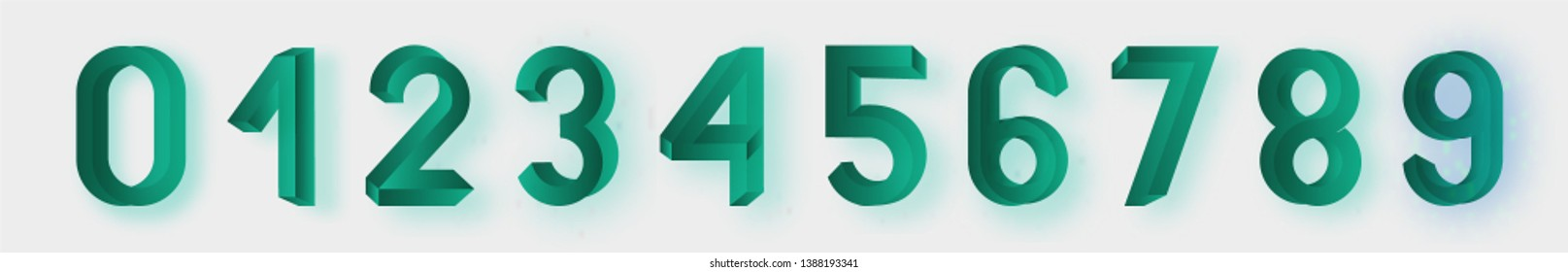 Impossible shape font. Memphis style numbers. Colored letters in the style of the 80s. Set of vector numbers constructed on the basis of the isometric view. Vector illustration 10 eps.