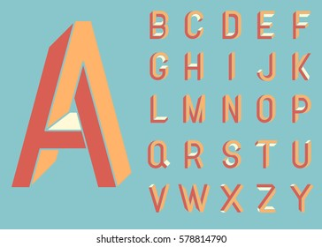 Impossible shape font. Memphis style letters. Colored letters in the style of the 80s. Set of vector letters constructed on the basis of the isometric view. Low poly 3d characters. Vector.