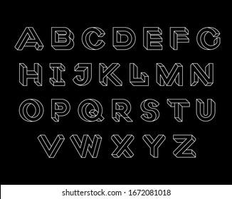 Impossible shape font. Set of vector geometry letters. Geometric font. Vector illustration 10 eps