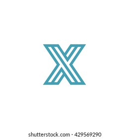 Impossible shape Letter X Logo design vector template Linear. Type Character Symbol Monogram Logotype Labyrinth concept.
