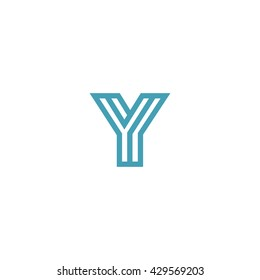 Impossible shape Letter Y Logo design vector template Linear. Type Character Symbol Monogram Logotype Labyrinth concept.