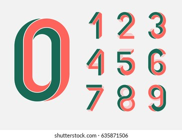 Impossible shape numbers. Memphis style . Colored numbers  in the style of the 80s. Set of vector numbers constructed on the basis of the isometric view. Low poly 3d characters. Vector