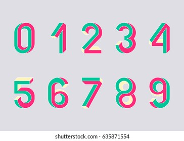 Impossible shape numbers. Memphis style numbers. Colored numbers in the style of the 80s. Set of vector symbols  constructed on the basis of the isometric view. Vector illustration 10 eps.