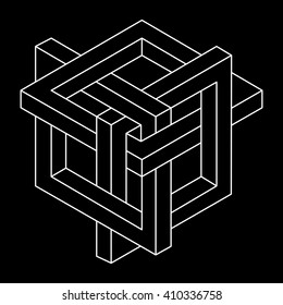 Impossible shape, optical illusion, vector