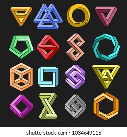 Impossible shape set. Vector 3d geometry surrealistic paradox undecided shapes isolated on black background