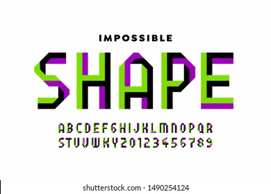 Impossible shape style font, alphabet letters and numbers, vector illustration