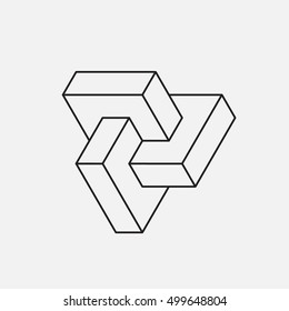 Impossible shape, triangle. Line design. Vector illustration EPS 10
