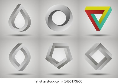 Impossible shapes set: triangle, circle, square, oval.  Vector geometric illusions with shadows. Mobius strip style. Different impossible figures as a symbol of infinity and cyclicity. Logo template.