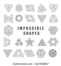 Impossible shapes vector set. Impossible line art collection. Type of optical illusion, reality trick, fascinating objects of geometry. Vector illustration