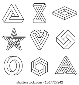 Impossible signs set outline. Linear infinite shapes. Impossible geometric figures. Optical illusion. Triangle, Infinity loop, rectangle, hexagon, heart, circle, rhombus, star. Vector illustration.