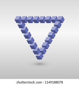 Impossible triangle in CMY colors. Cubes arranged as geometric optical illusion. Reutersvard traingle. Vector illustration.