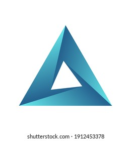 Impossible triangle. Penrose optical illusion. Blue gradient  triangular shape. Abstract infinite geometric object. Design element. Isolated on white background. Vector illustration