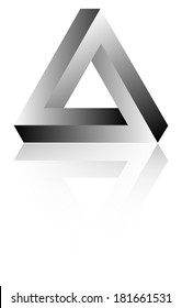 Impossible Triangle Of Tribar Optical Illusion With Reflection