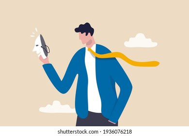 Imposter syndrome, hypocrisy, business dishonest or liar, fake, crime or fraudulent concept, depressed anonymous businessman holding smiling mask thinking about being or acting like another person.