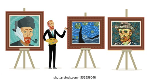 impressionism great painter creating portraits and starry landscape paints