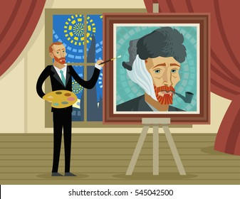 impressionist painter creating a portrait
