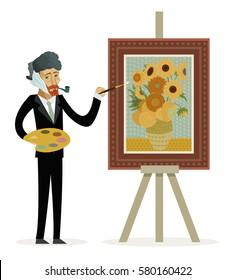 impressionist painter painting sunflowers