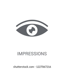 Impressions icon. Trendy Impressions logo concept on white background from Technology collection. Suitable for use on web apps, mobile apps and print media.