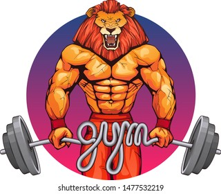 An impressive athlete make a maximal weight single lift of a barbell loaded with weight plates awesome easy. Illustration of bodybuilder strong man with a roaring lion head on a gradient background.