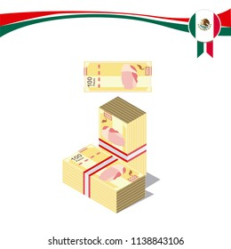 ImprimirMexican pesos, bills of $100. Billetes mexicanos, spanish text. Mexican Bills  3d