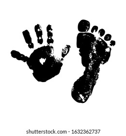 Imprint baby palm and foot. Black isolated silhouette on a white background. Painting. Drawing. Template for your design.Stock vector illustration. Children. Childhood. Grunge texture.