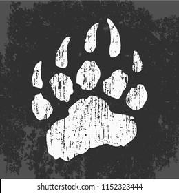 imprint of bear paw, vector illustration, web icon, stamp on clothes, stylish logo design, symbol of california, flat style