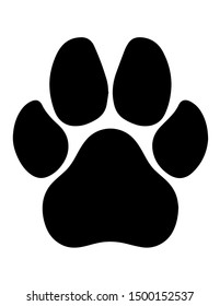 Imprint of black paws on a white background. Vector graphics.