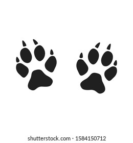 An imprint of the paws of a fox, cat or wild animal with claws. Black silhouette, print in flat style. Concept icons fox, vector illustration.