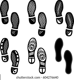 Imprint Soles Shoes (Shoe Print) Set Icon Vector Illustration