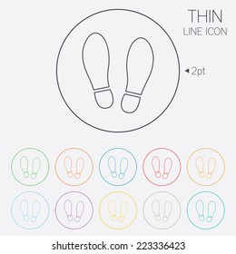 Imprint soles shoes sign icon. Shoe print symbol. Thin line circle web icons with outline. Vector