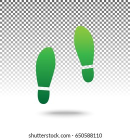 Imprint soles shoes sign. Vector. Green gradient icon with shadow at bottom on transparent and white background.