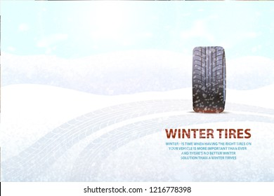 Imprints left on ground by transport poster vector. Snowing weather and rubber item, vehicle for automobile, mark of vehicle car with impress track