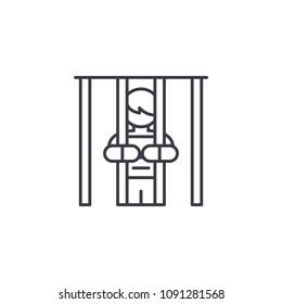 Imprisonment linear icon concept. Imprisonment line vector sign, symbol, illustration.