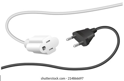 Improper plug and extension cable, that are not compatible. Isolated vector illustration on white background.