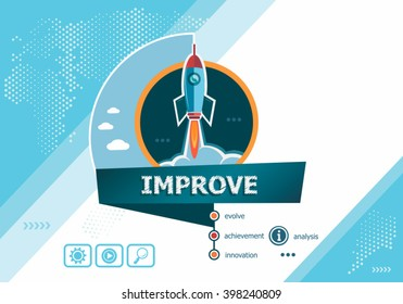 Improve design concepts for business analysis, planning, consulting, team work, project management. Improve concept on background with rocket.