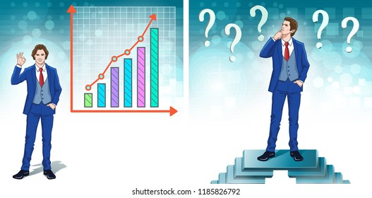 Improvement concept. Finance analysis and stats. Business presentation elements and clipart. Color cartoon characters. Vector illustration.