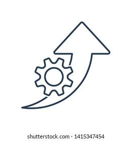 Improvement efficiency, productivity. Vector line icon gear wheel, arrow pointer . White background.